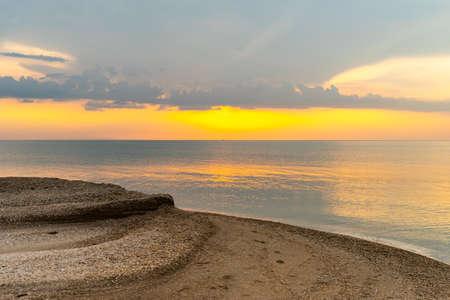 Sunset falling on the beach