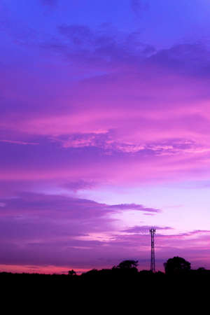 Purple sky on the bright weather in Thailand