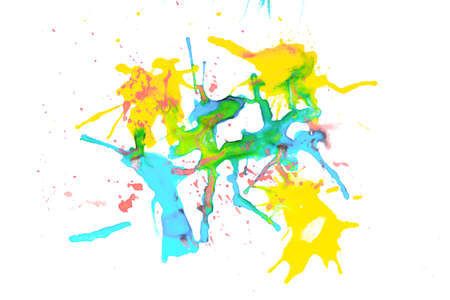 Watercolor colors are red, yellow, and blue. Spread as an abstraction