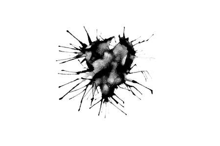 Abstract black ink A heart that is broken and spread. Imagens