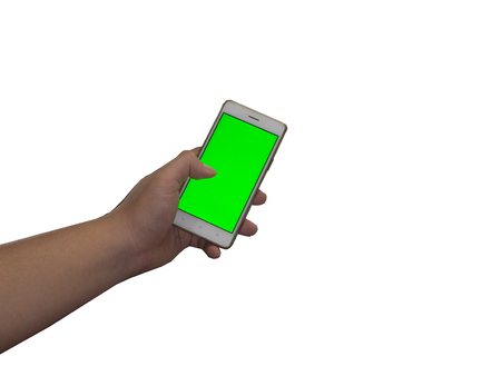 landscape mode: Man holds in hands tablet PC in landscape mode with green screen isolated on white. Chroma key screen for placement of your own content.