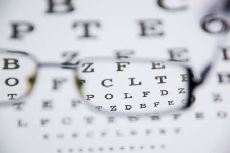 view through the glasses show the small print of an eyetest Stock Photo