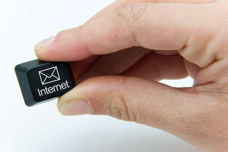 keyboard button with envelope and internet Stock Photo