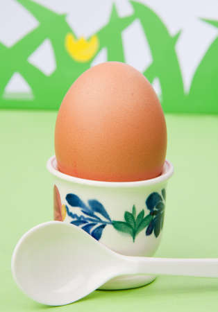 chickenegg in a cup with a spoon in a fantasy grass background