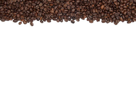 White background with coffee beans over the horizontal length. Could be used for stationary or menus