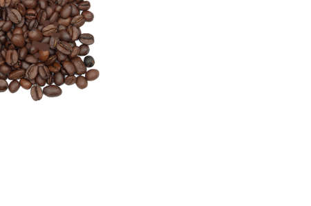 White background with coffee beans in the corner. Could be used for stationary or menus Stock Photo