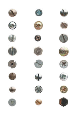 24 used screws and bolts against a white background. The screws show signs of use. photo