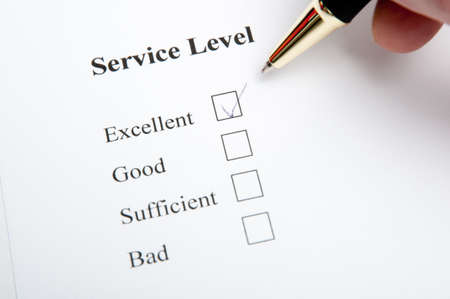Service and quality level survey with checkbox photo