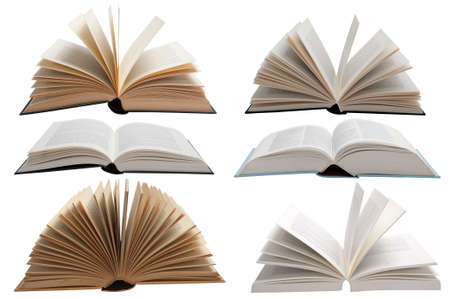 Six different books in an open position against a white background