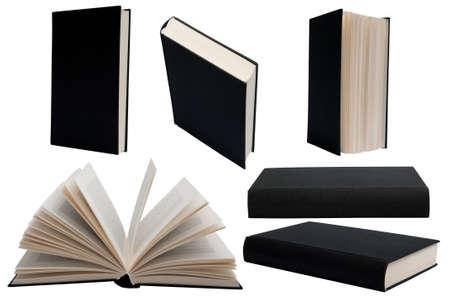 portadas de libros: Libro negro con tapa dura en diferentes posiciones sobre un fondo blanco