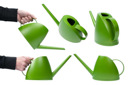 Watering-can in different positions isolated against a white background.