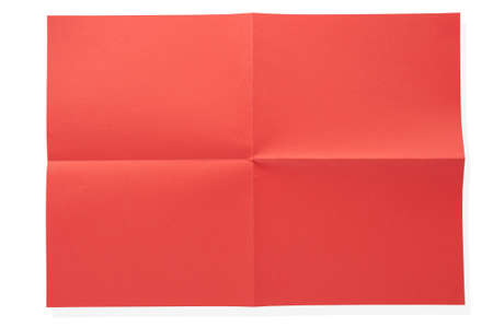 Red piece of paper against a white background. It looks like it has been folded.