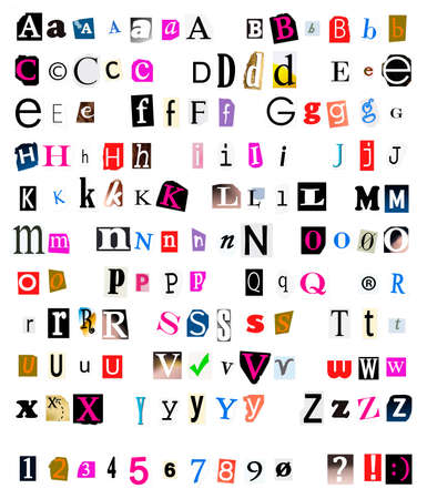 lowercase: Different kinds of cut and torn out  font from magazines and papers as often used in ransom notes.