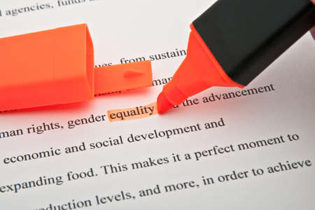 The word Equality highlighted in orange Stock Photo