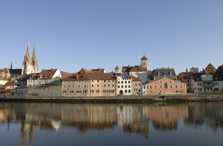 regensburg: a panorama of german town Regensburg with the historical and old kathedral