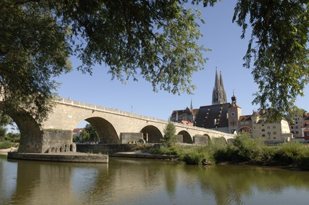 the famous old bridge of Regensburg in Germany photo