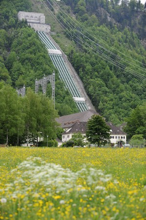 industrial heritage:  a famous old hydroelectric power station in Walchensee Germany Stock Photo