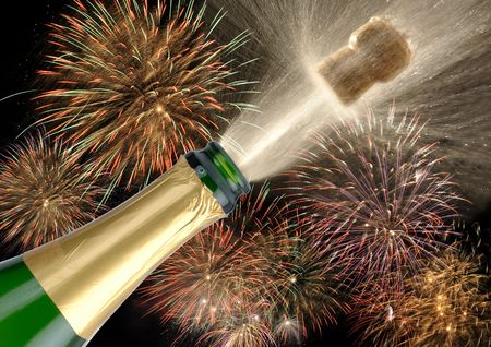 uncork:  a bottle champagne is opened while a fireworks