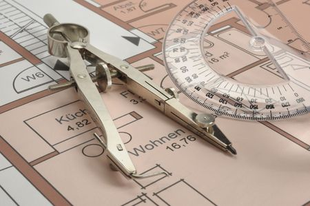 house building plan with compasses photo