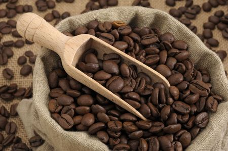 Coffee beans with a wooden scoop photo