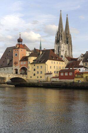 Il famoso centro storico di Regensburg in Germania