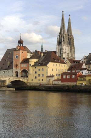 the famous old town of regensburg in germany