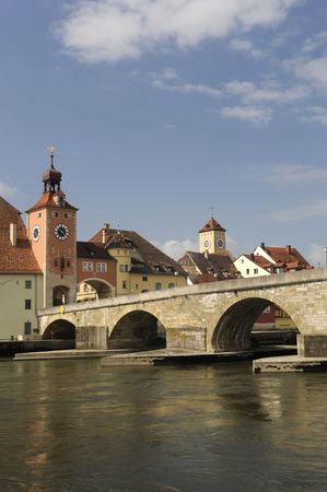 the famous old town of regensburg in bavaria Germany photo