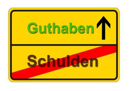 arrears: an european sign in german language: from dept zu arrears Stock Photo