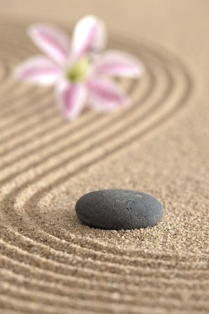 zen garden in sand photo