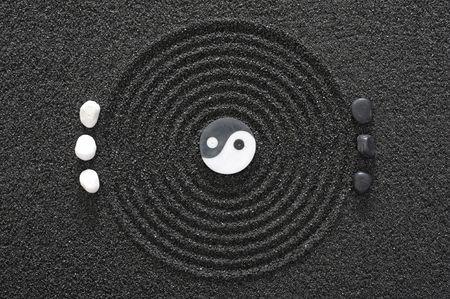 yang ying: zen garden in black sand