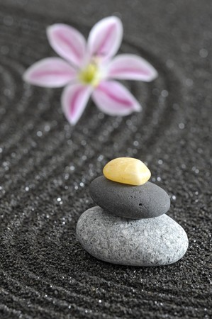 zen garden in black sand photo