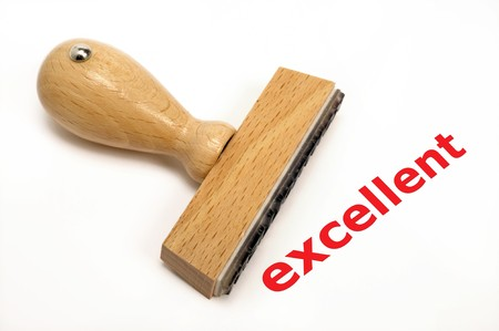 marked: rubber stamp marked with excellent Stock Photo