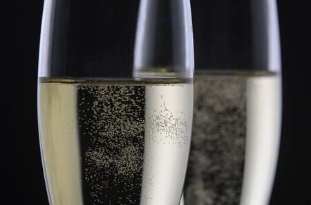 gold flute: two glass of champagne Stock Photo
