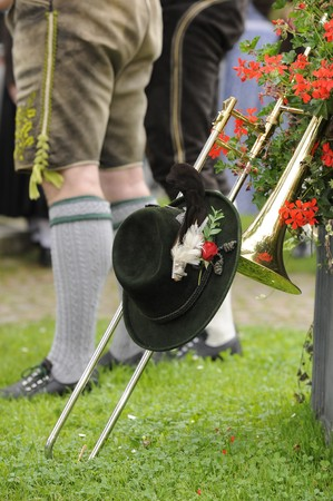 wiesn: typical historic bavarian costume with trumpet