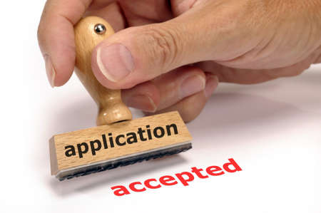 rubber stamp marked with application and accepted Stock Photo - 7719252