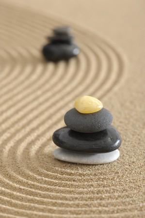 zen garden in sand photo