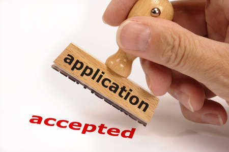 rubber stamp marked with application and copy accepted Stock Photo - 7719279