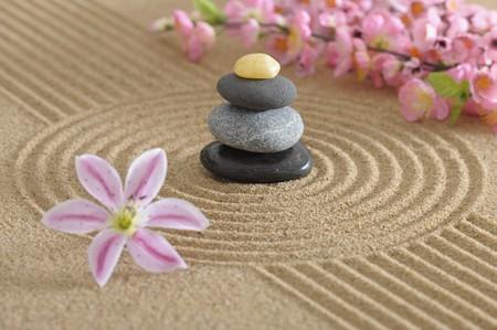 zen garden in sand Stock Photo - 7838215