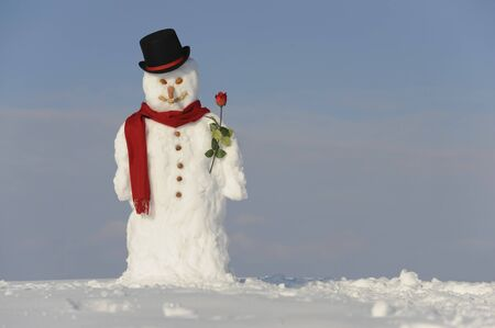 frosty the snowman: snowman with hat and shawl Stock Photo