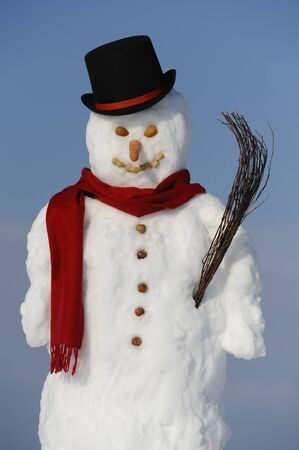 snowman with hat and shawl photo