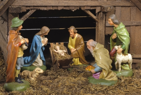 christmas nativity scene at jesus birth with mary and joseph photo