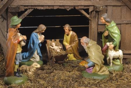 nacimiento de jesus: pesebre navide�o en el nacimiento de jesus con mary y joseph Foto de archivo