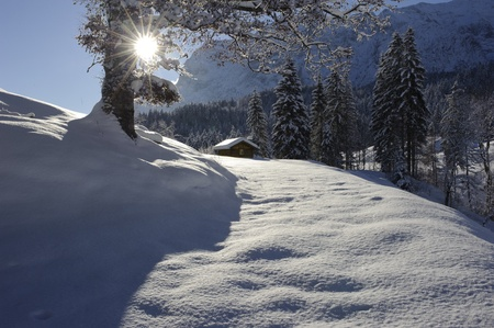 lonesome snowy cottage in winter photo