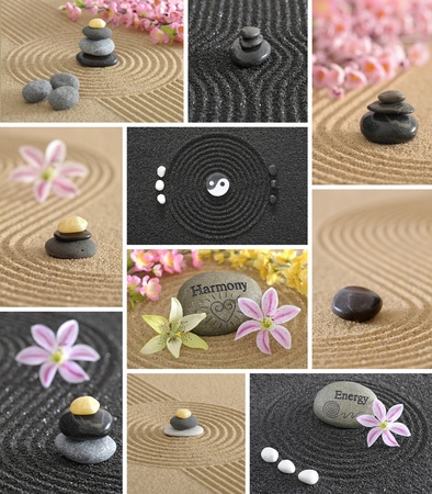wellness zen garden collage with stone and sand photo