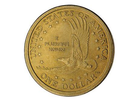 een Amerikaanse dollar munt geïsoleerd op witte achtergrond