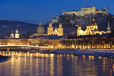 city Salzburg in Austria at cold christmas winter night photo