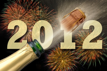 champagne and fireworks at new year 2012