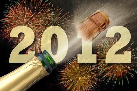 champagne e fuochi d'artificio a Capodanno 2012 Archivio Fotografico