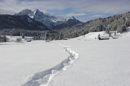 landscape in winter snow at alp mountains, upper bavaria in germany photo