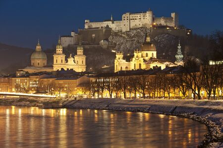 salzach:  illuminated city salzburg in Austria at christmas night